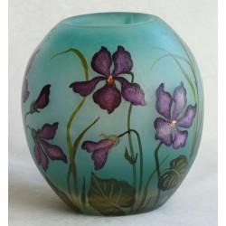 Vase décor floral de violettes