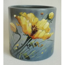 Vase coquelicots fond gris