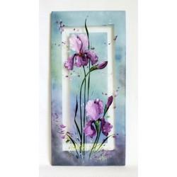 Tableau décoratif iris fond gris
