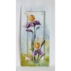 Tableau décoratif iris jaunes et mauve