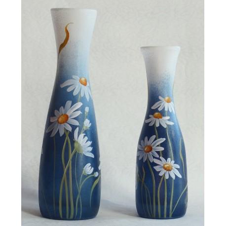 Set de 2 vases décor floral avec pâquerettes (vendus par 2 ou à l'unité)