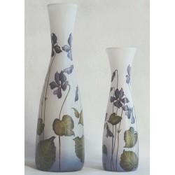 Set de 2 vases décor floral avec violettes (vendus par 2 ou à l'unité)