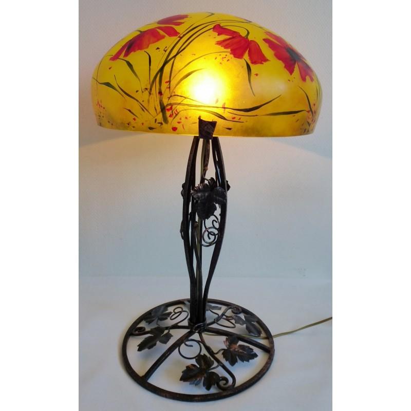 grande lampe décor floral sur pied en fer forgé - viorel panait