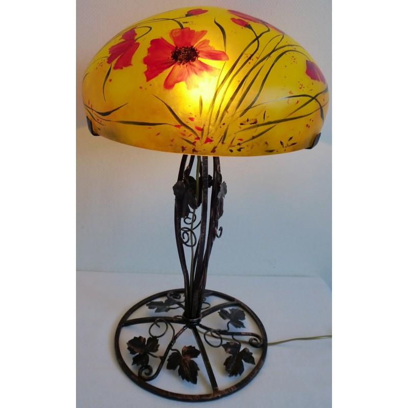 Grande lampe d cor floral sur pied en fer forg viorel for Lampe de chevet fer forge