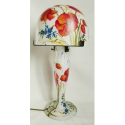 Decorative lamp with poppies on white background