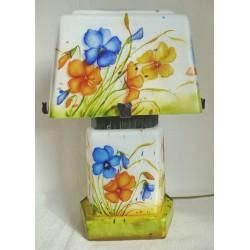 Lampe décorative avec pensées bleu et jaune