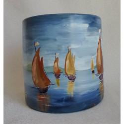 Grand vase décoratif voiliers