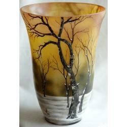 Vase décoratif paysage hivernal arbres en relief