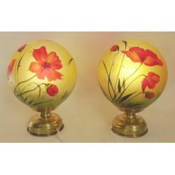 Ensemble de deux lampes de chevet coquelicots