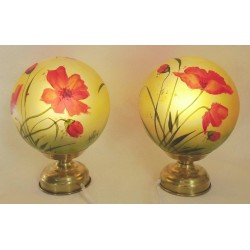 Set of 2 bedside lamps with poppies