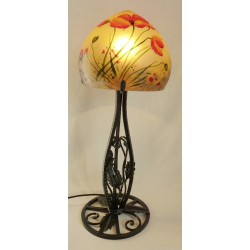 Lampe décorative coquelicots pied en fer forgé