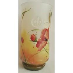 Grand vase décoratif coquelicots et signe royal