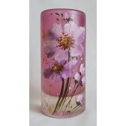 Vase cylindrique fleurs mauves