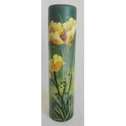 Vase décoratif fleurs jaunes sur fond vert
