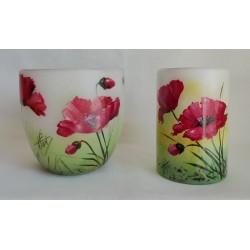 Ensemble de deux vases décoratifs coquelicots