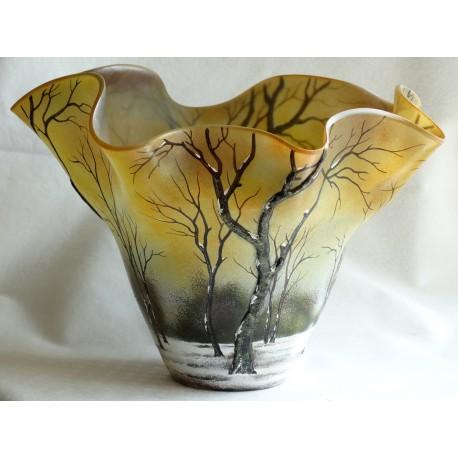 Vase décorative paysage d'hivernal avec arbres en relief en relief