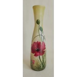 Vase décoratif coquelicots sur fond multiolore